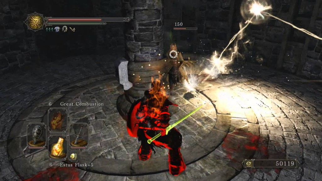 Dark Souls fighting an overpowered npc.
