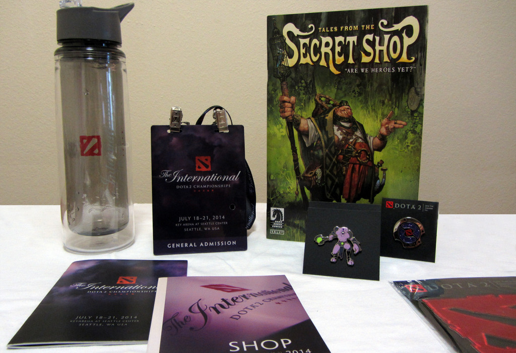 The goodie bag was filled with Dota 2 merchandise including the water bottle.