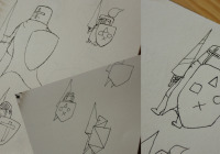 First step to designing the Game Crusaders' logo was to do some sketching in my idea book.