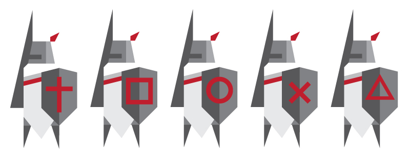 Different variations on the shields of the logo.