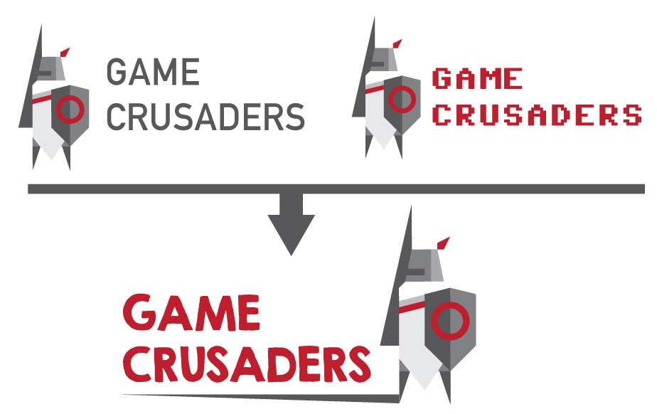 Different fonts were tried to go with the newly designed Game Crusader