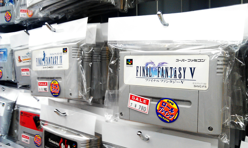 Final Fantasy 5 cartridge in a store in Japan